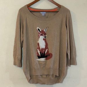 JCP cashmere blend tan sweater with fox design.
